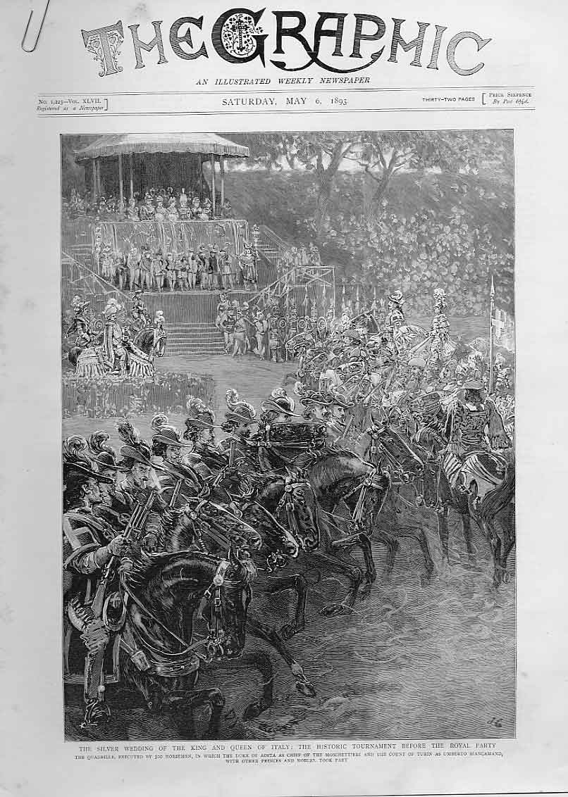 Print Tournamnet Foe Silver Wedding King Queen Italy 1893 88Abbb0 Old Original