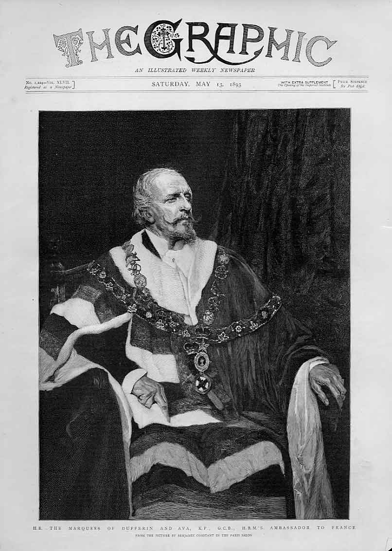 Print Marquess Dufferin 1893 Portrait 18Bbb0 Old Original