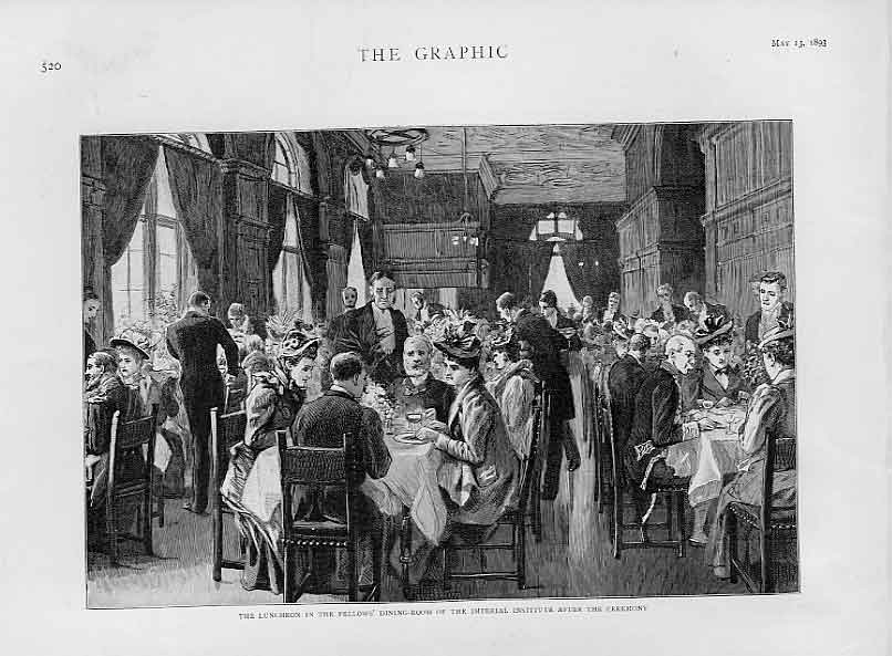 Print Luncheon Fellows Dinning Room Imperial Institute 1893 20Bbb0 Old Original