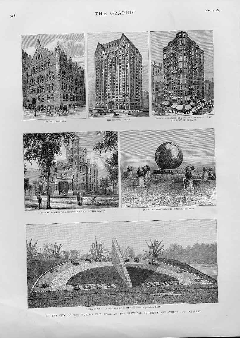 Print Chicago Buildings In 1893 Usa 28Bbb0 Old Original