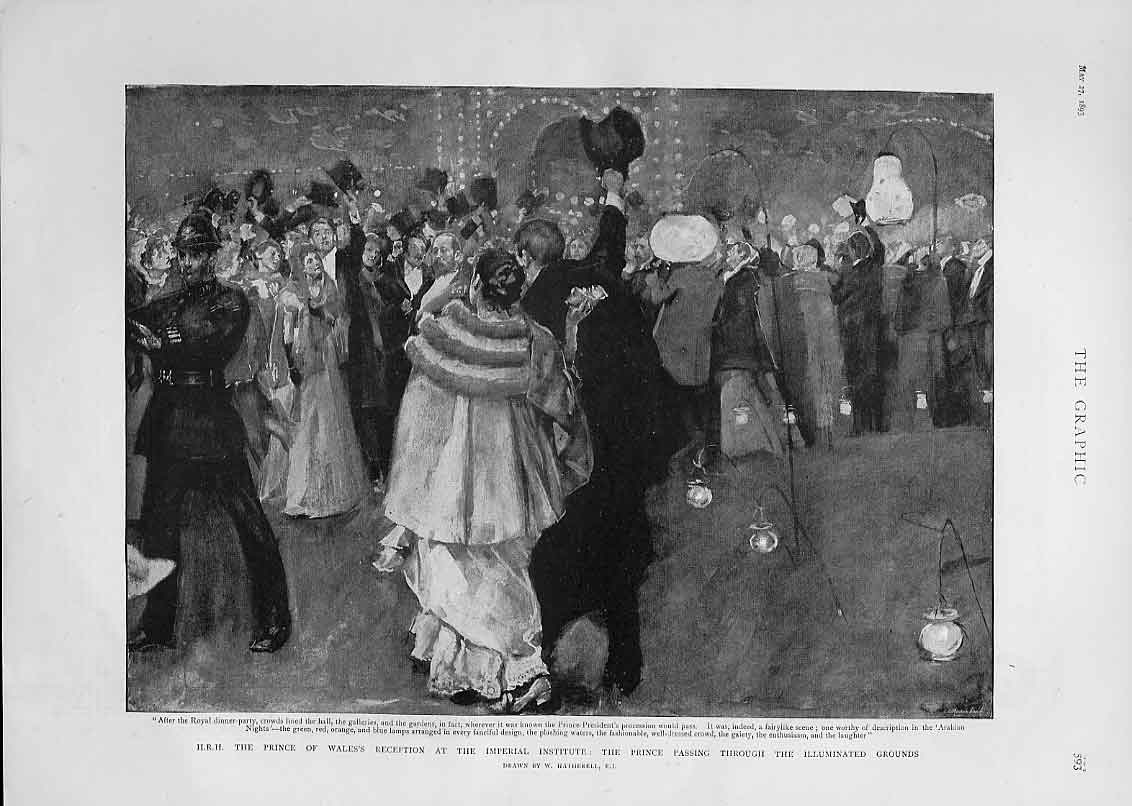 Print Reception At Royal Institute 1893 Illuminated Grounds 93Bbb0 Old Original