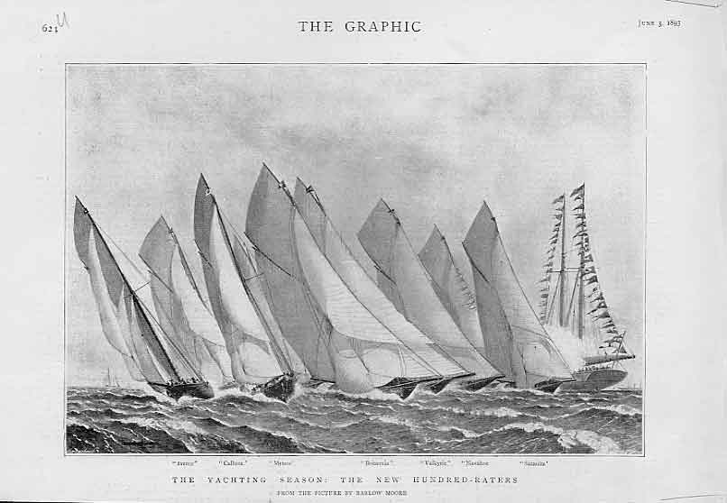 Print Yachting Season The New 100 Raters 1893 Sail 24Ubbb0 Old Original