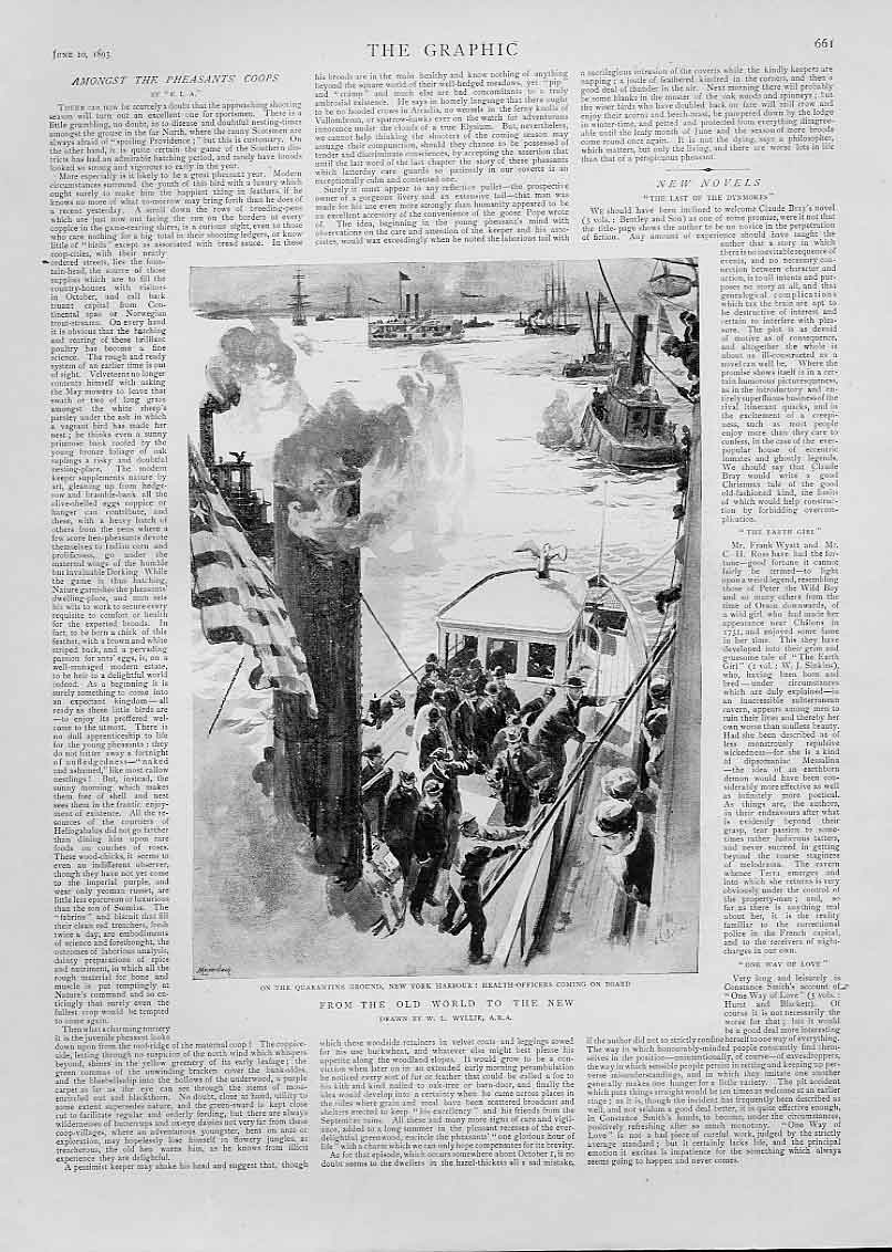 [Print Health Oficers Board Ship New York Harbour 1893 61Bbb0 Old Original]