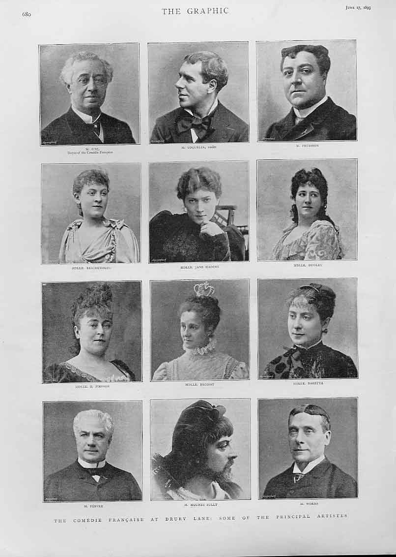 [Print Actors Comedie Francais At Dury Lane Theatre 1893 80Bbb0 Old Original]