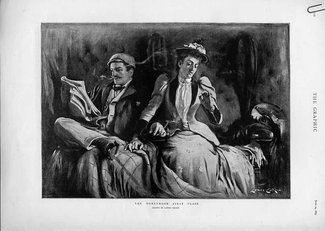 Print The Honeymoon First Class & Third Class By Rail 1893 16Abbb0 Old Original