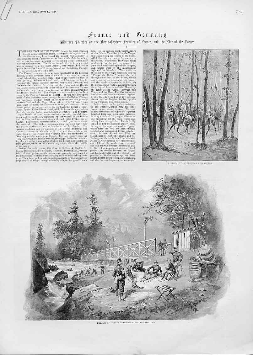 [Print Military Sketches France Germany Frontier 1893 23Abbb0 Old Original]