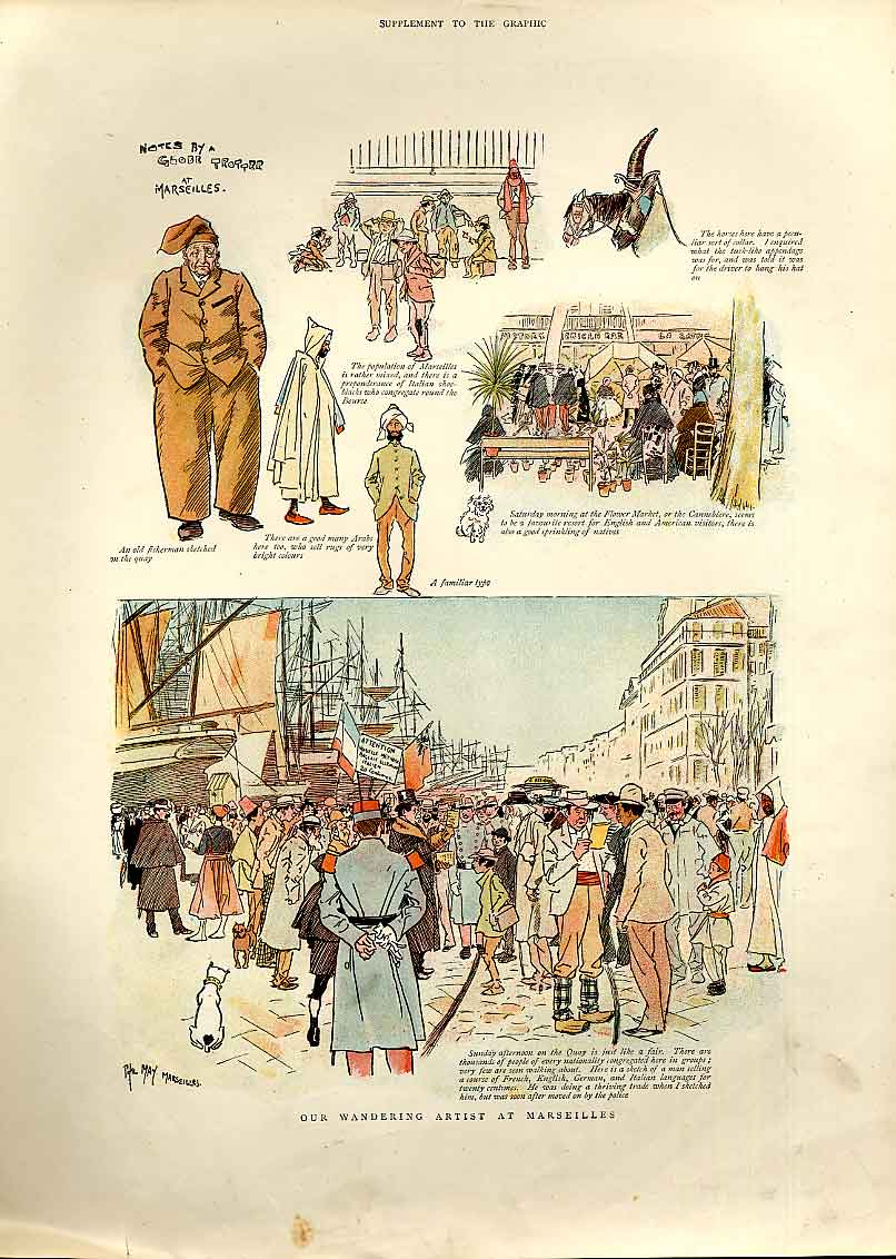 [Print Wandering Artist At Marseilles France 1893 02Bbb0 Old Original]