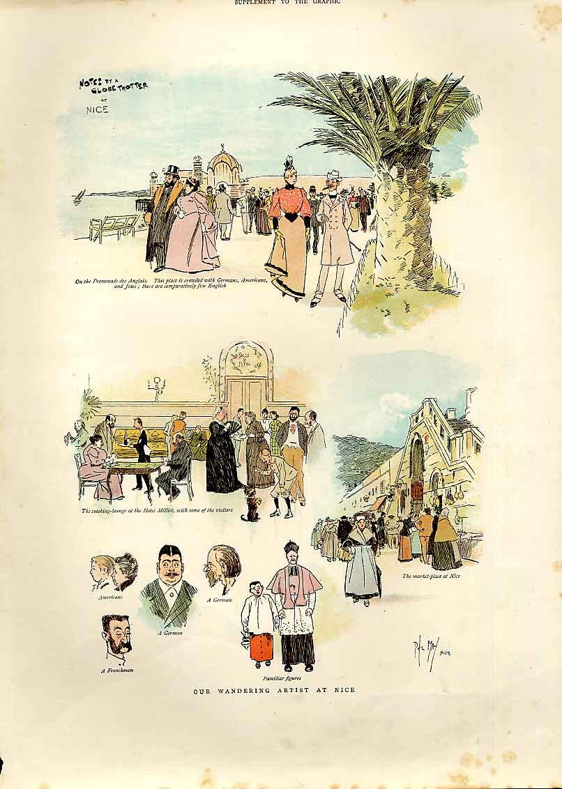 Print Wandering Artist At Nice France 1893 04Bbb0 Old Original