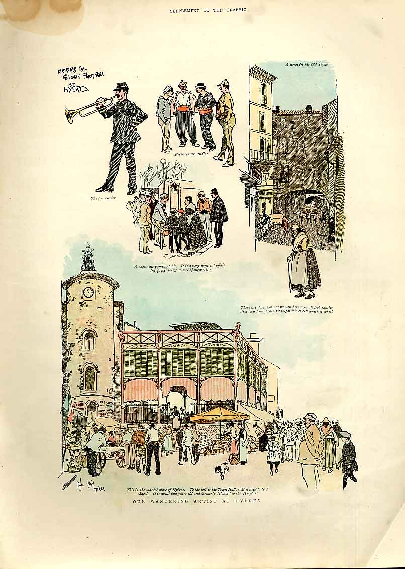 Print Wandering Artist At Hyeres France 1893 06Bbb0 Old Original