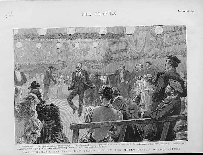 Print Firemens Festival New Years Day 1894 London 08Ubbb0 Old Original
