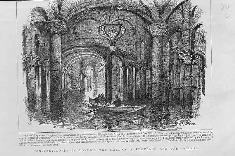 Print Hall 1001 Pillars Constantinople In London 1894 20Lbbb0 Old Original