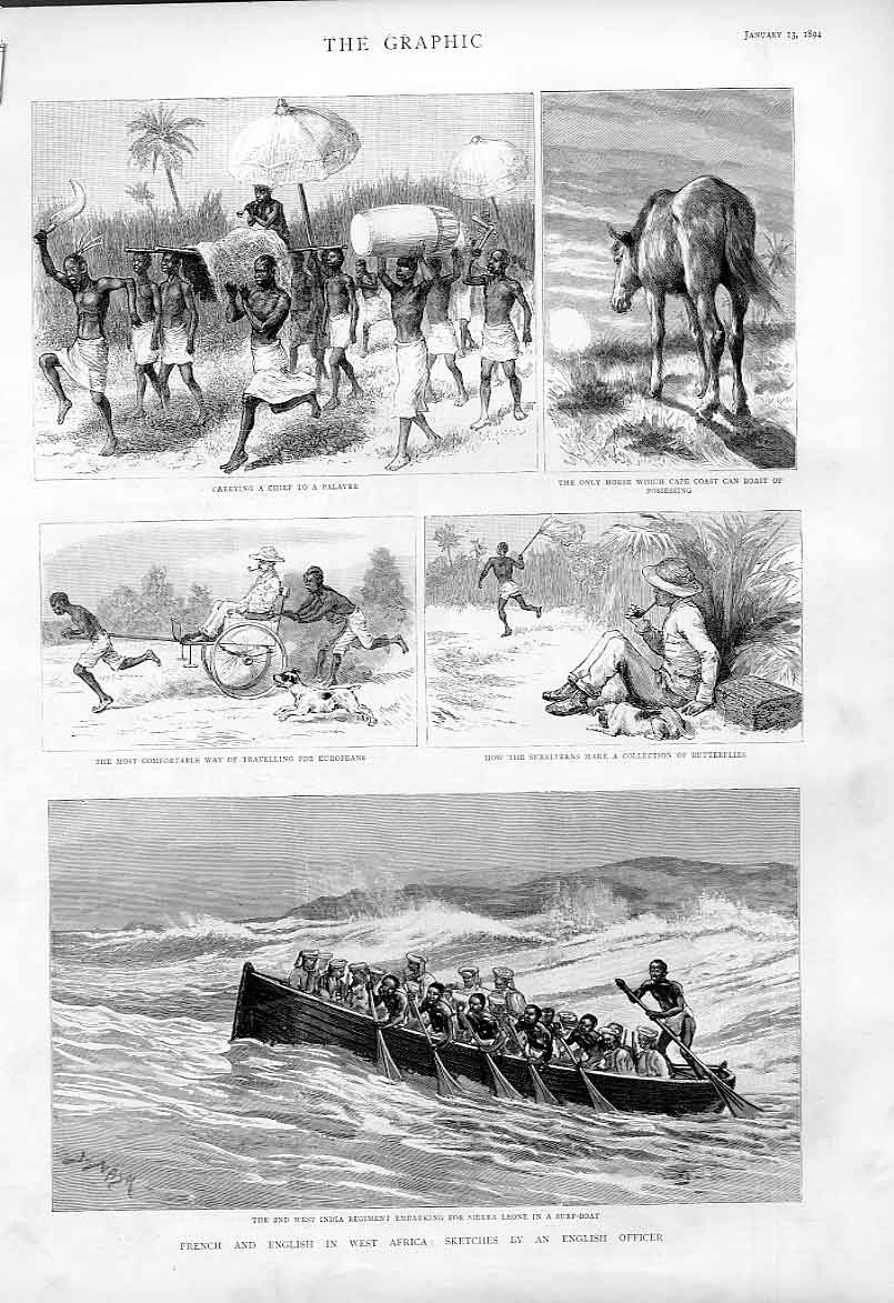 Print French & English In West Africa 1894 Sketches 36Abbb0 Old Original