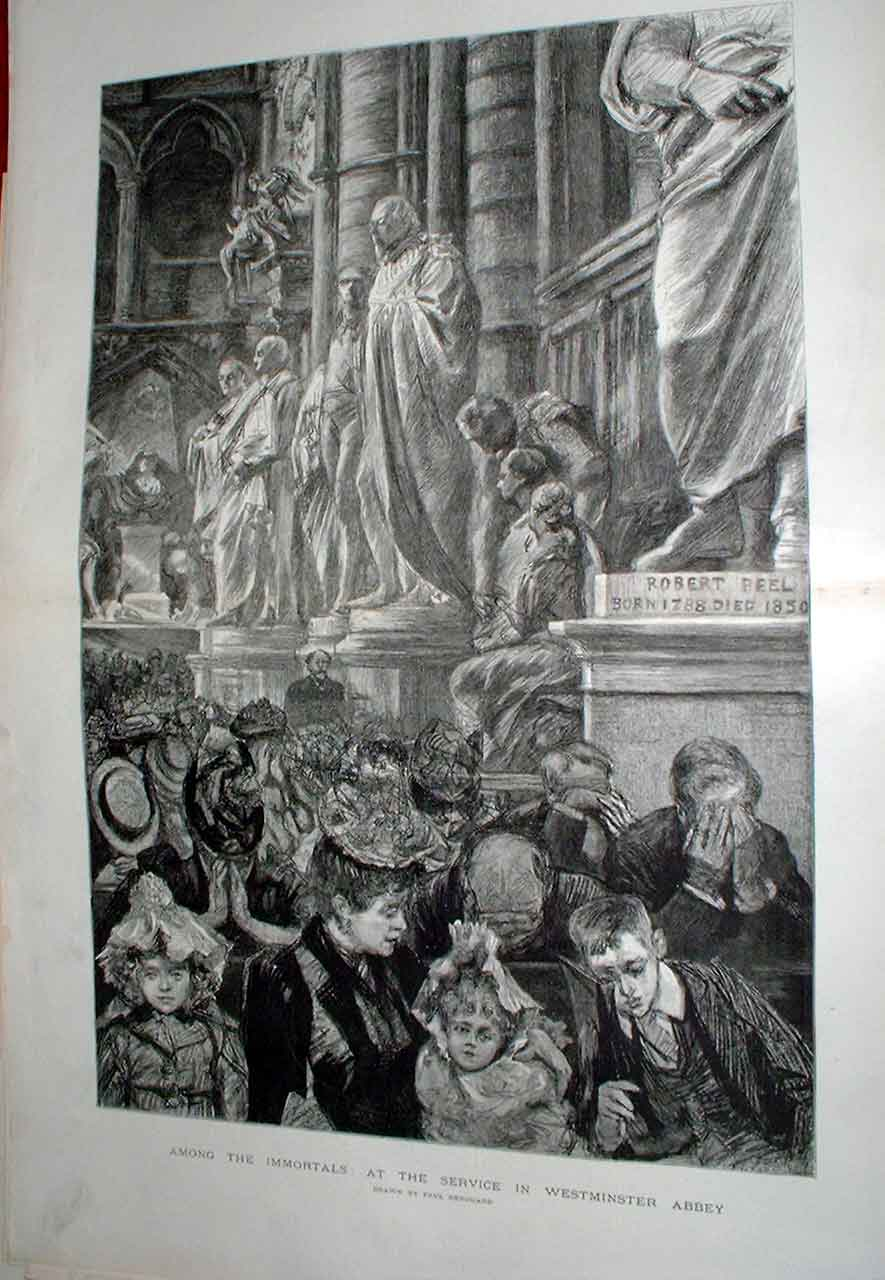 [Print Among The Immortals Westminister Abbey 1894 Renou 41Tbbb0 Old Original]