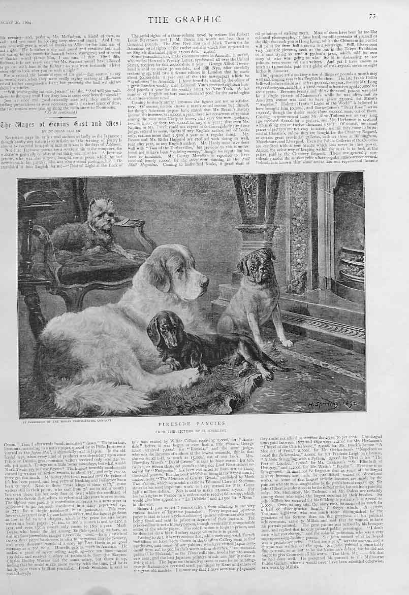 Print Fireside Fancy Fine Art By Sperling 1894 4 Dogs 73Bbb0 Old Original