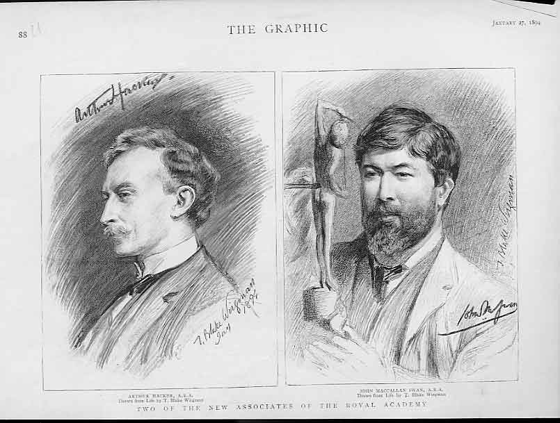 Print Portraits Hacker & Maccallan 1894 Artists 88Ubbb0 Old Original