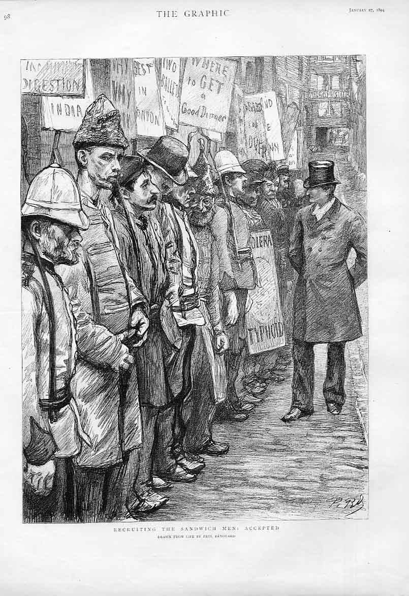 Print The Accepted & Rejected Sandwich Men 1894 London 98Abbb0 Old Original
