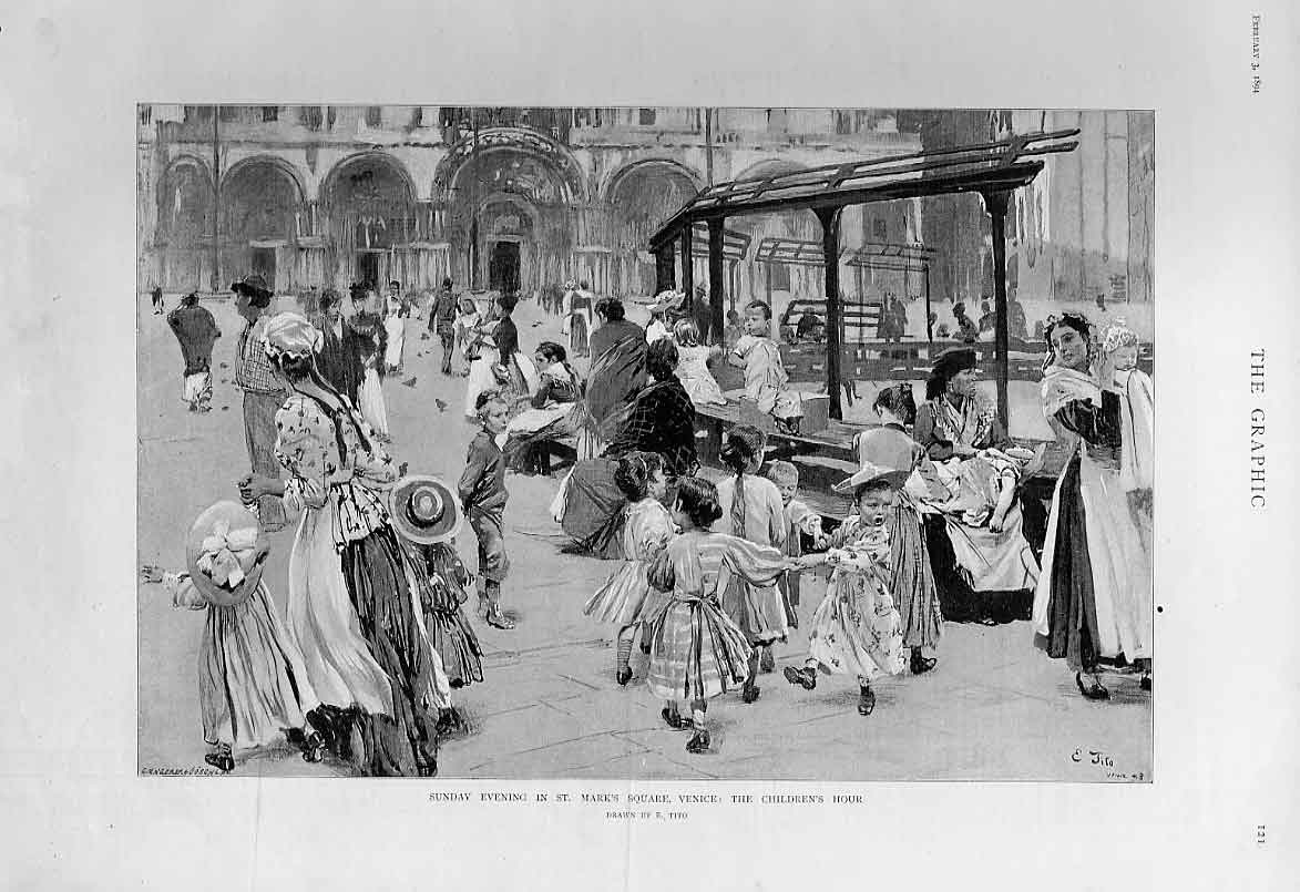 Print Childrens Hour Sunday Evening St Marks Square Venice It 21Bbb0 Old Original