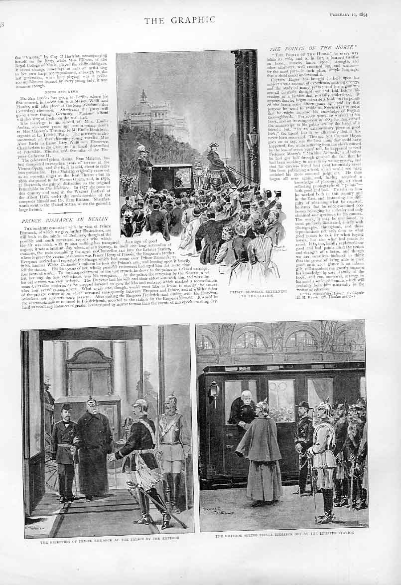 Print Prince Bismark Leaves Berlin 1894 Germany 48Bbb0 Old Original