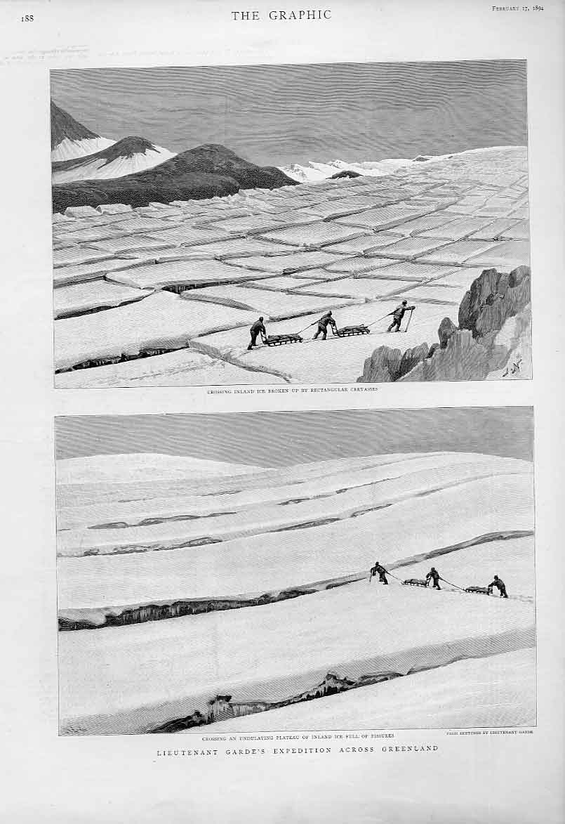 Print Garde'S Expedition Across Greenland 1894 88Bbb0 Old Original