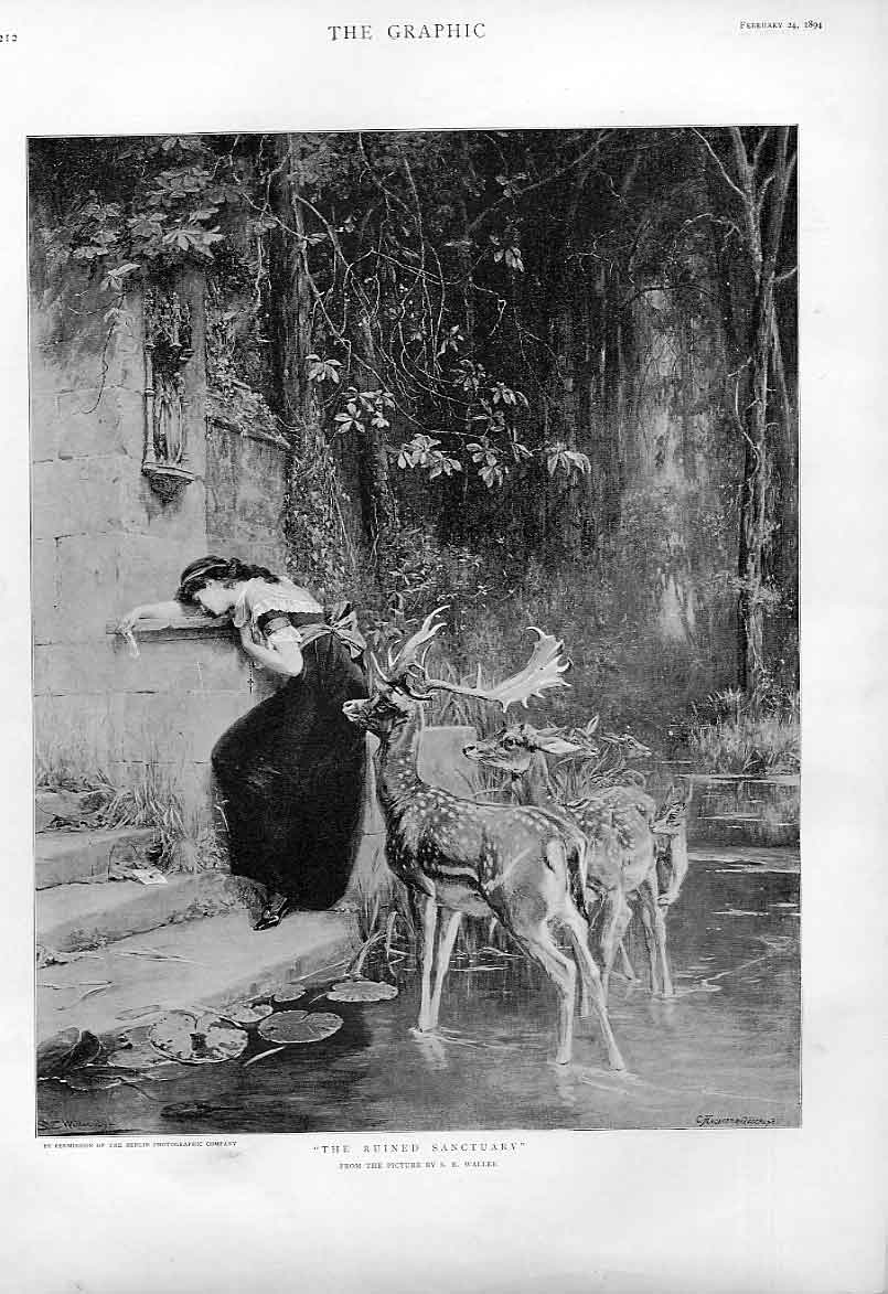 Print Ruined Sanctuary By Waller 1894 Girl & Fallow Dee 12Bbb0 Old Original