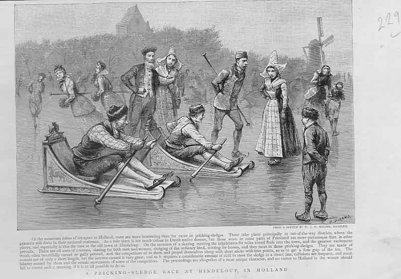 Print Pricking Sledge Race At Hindeloup Holland 1894 29Lbbb0 Old Original