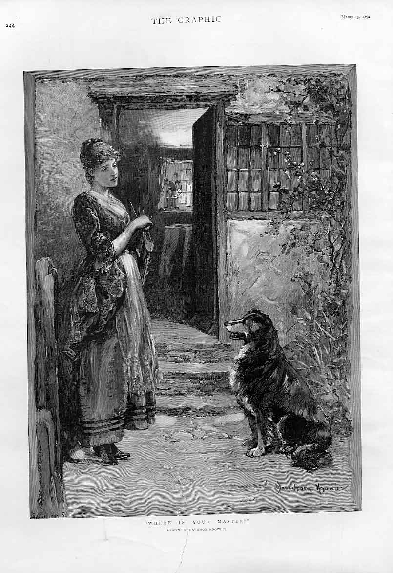 Print Dog Asks Girl Where Is Your Master Fine Art By Knowles 44Bbb0 Old Original