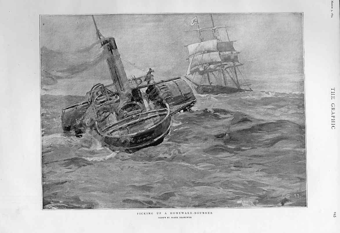 Print Pilot Picking Up Homeward Bound Ship 1894 45Bbb0 Old Original