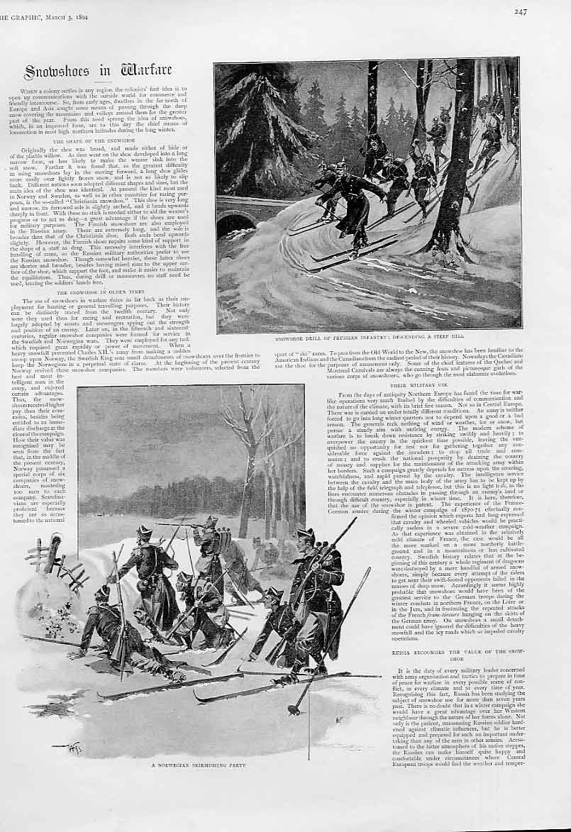 Print Snow Shoes In Warfare 1894 47Bbb0 Old Original