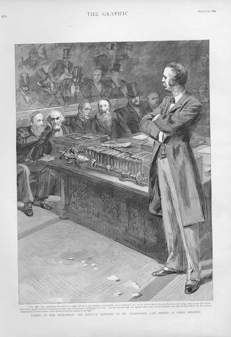 Print Balfour Replys To Gladstone'S Last Speech As Pm 1894 60Bbb0 Old Original