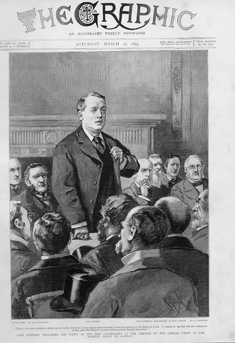 Print Rosebery Declares Policy At Meeting Liberal Party 1894 90Bbb0 Old Original
