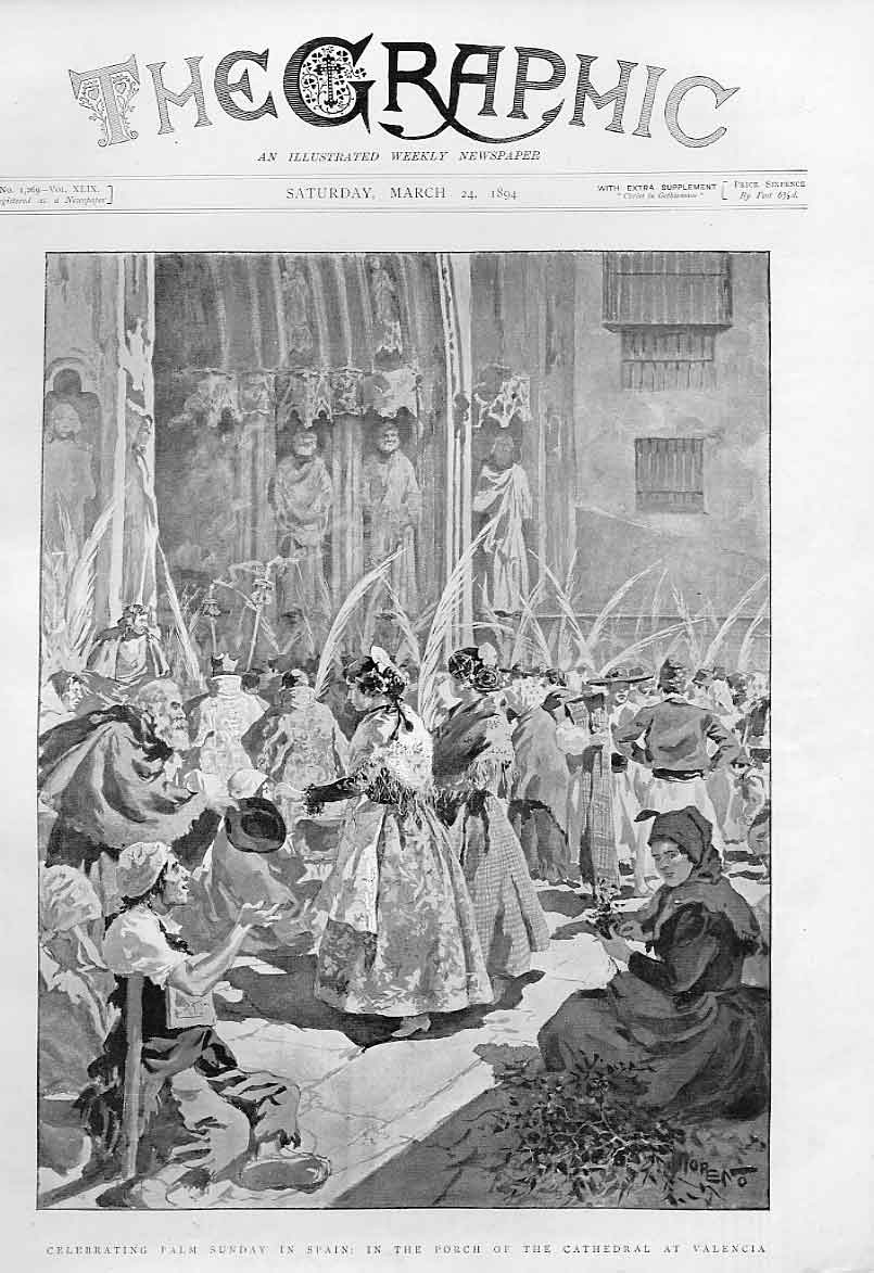 Print Palm Sunday Cathedral Valencia Spain 1894 22Bbb0 Old Original