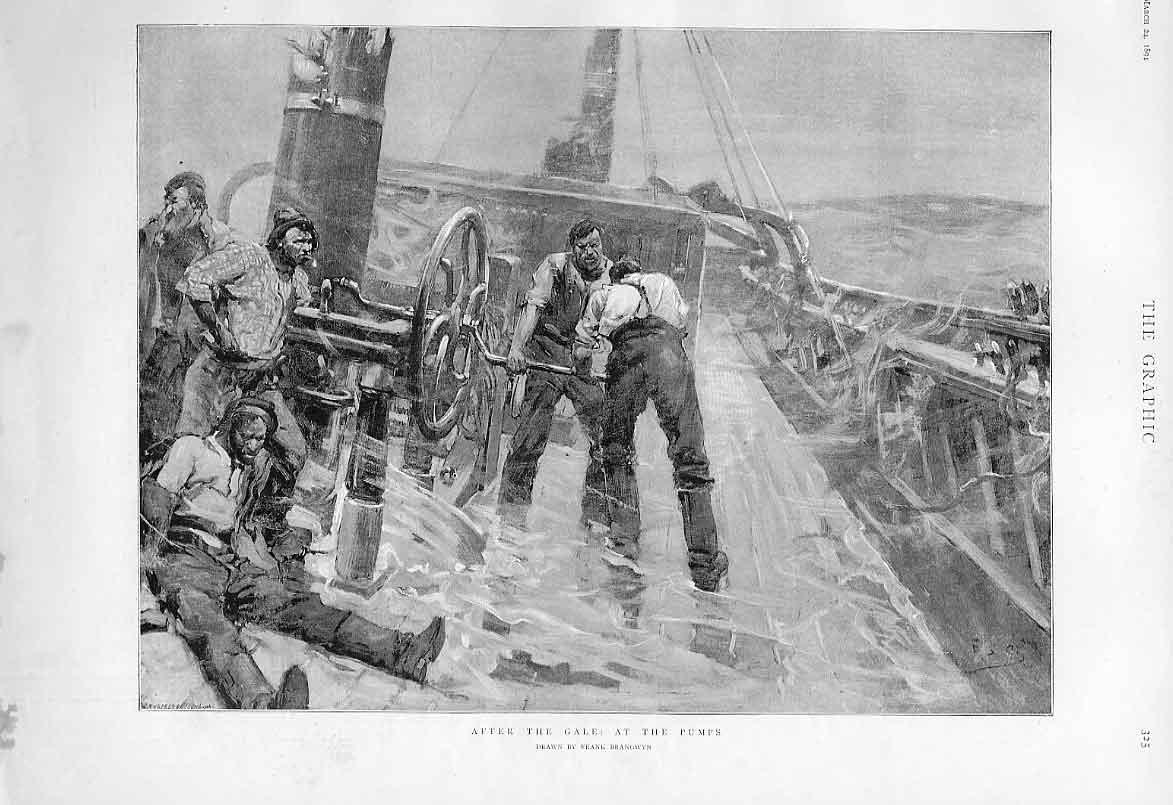 Print At The Pumps After The Gale 1894 Ships 25Bbb0 Old Original