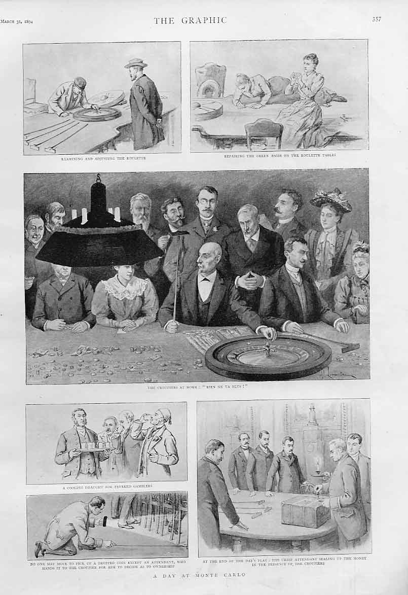 Print A Day At Monte Carlo 1894 Gambling France 57Bbb0 Old Original