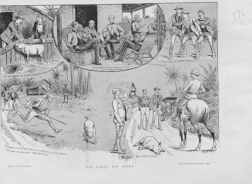 Print His First Pig Hunt India 1894 76Lbbb0 Old Original