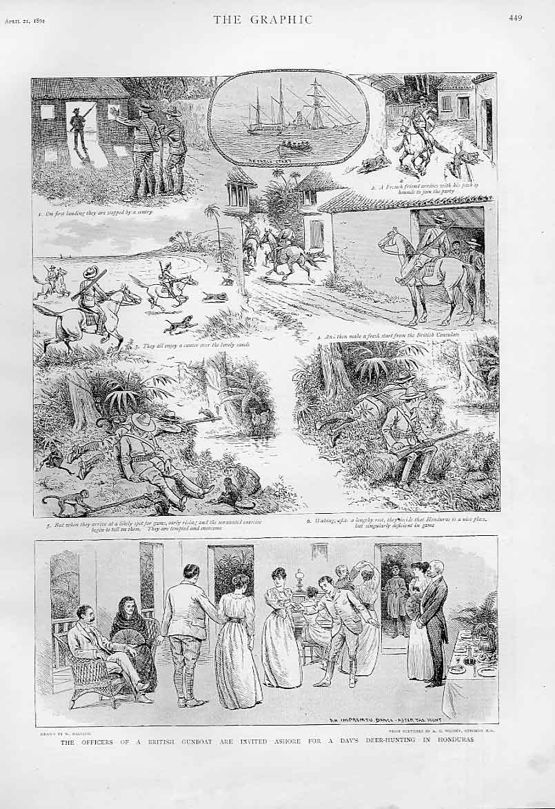 Print Naval Officers Deer Hunt Honduras 1894 49Bbb0 Old Original
