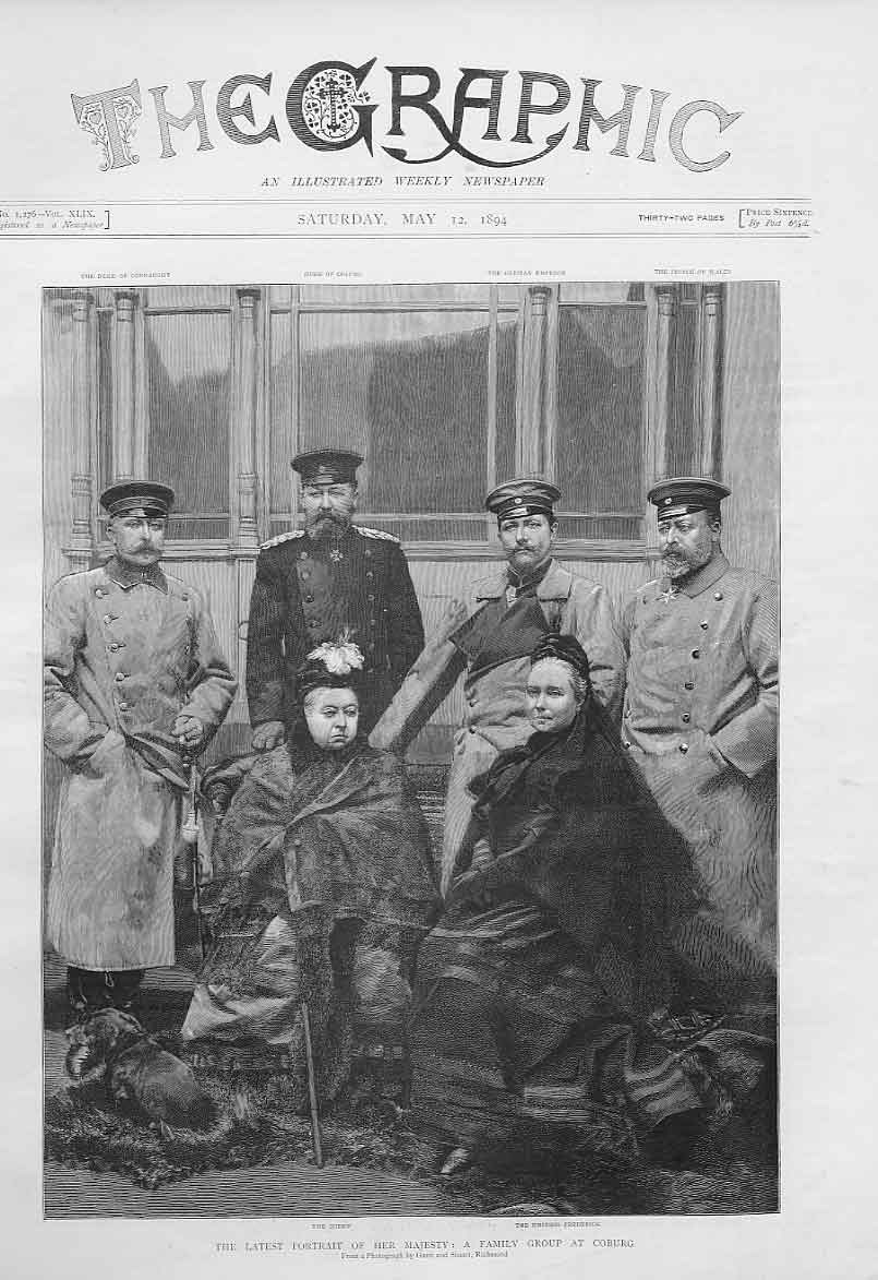 Print Queen Victoria & Family Group At Coburg 1894 46Bbb0 Old Original