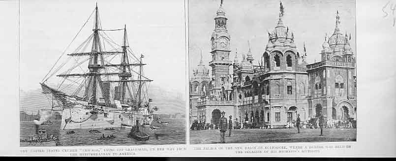 Print United Staes Cruiser Chicago 1894 & Indian Palace Kolh 48Mbbb0 Old Original