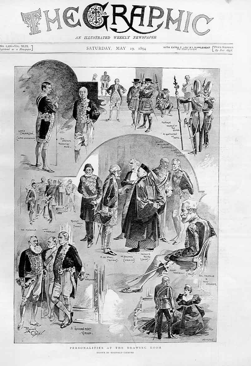 Print Personalities At Kings Drawing Room 1894 78Bbb0 Old Original