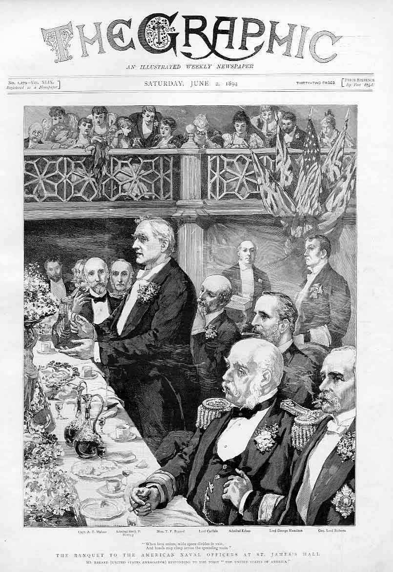 Print Banquet For American Naval Officers St James Hall 1894 42Bbb0 Old Original
