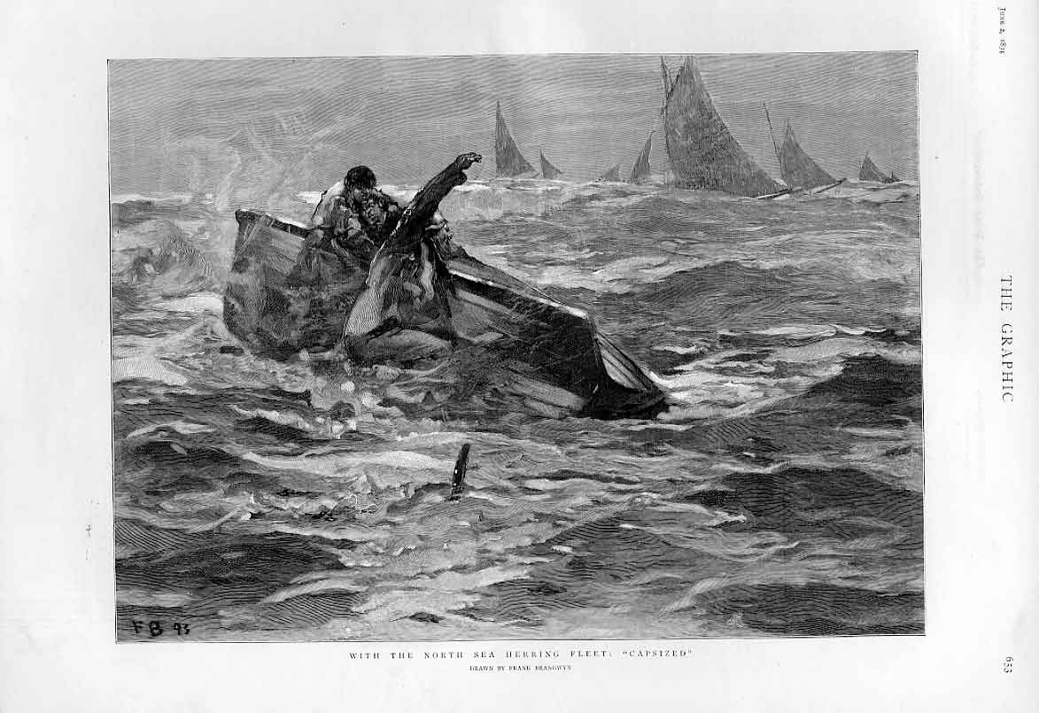 Print Capsized With North Sea Hering Fishing Fleet 1894 Ships 53Bbb0 Old Original