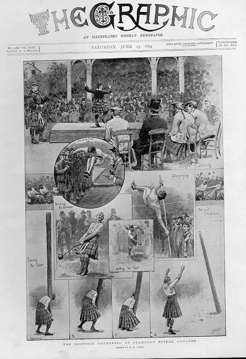 [Print Scottish Gathering At Stamford Bridge 1894 38Bbb0 Old Original]