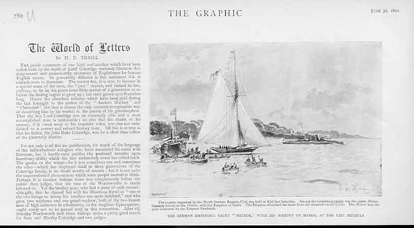 [Print German Emperors Yacht Meteor At Kiel Regatta 1894 80Ubbb0 Old Original]
