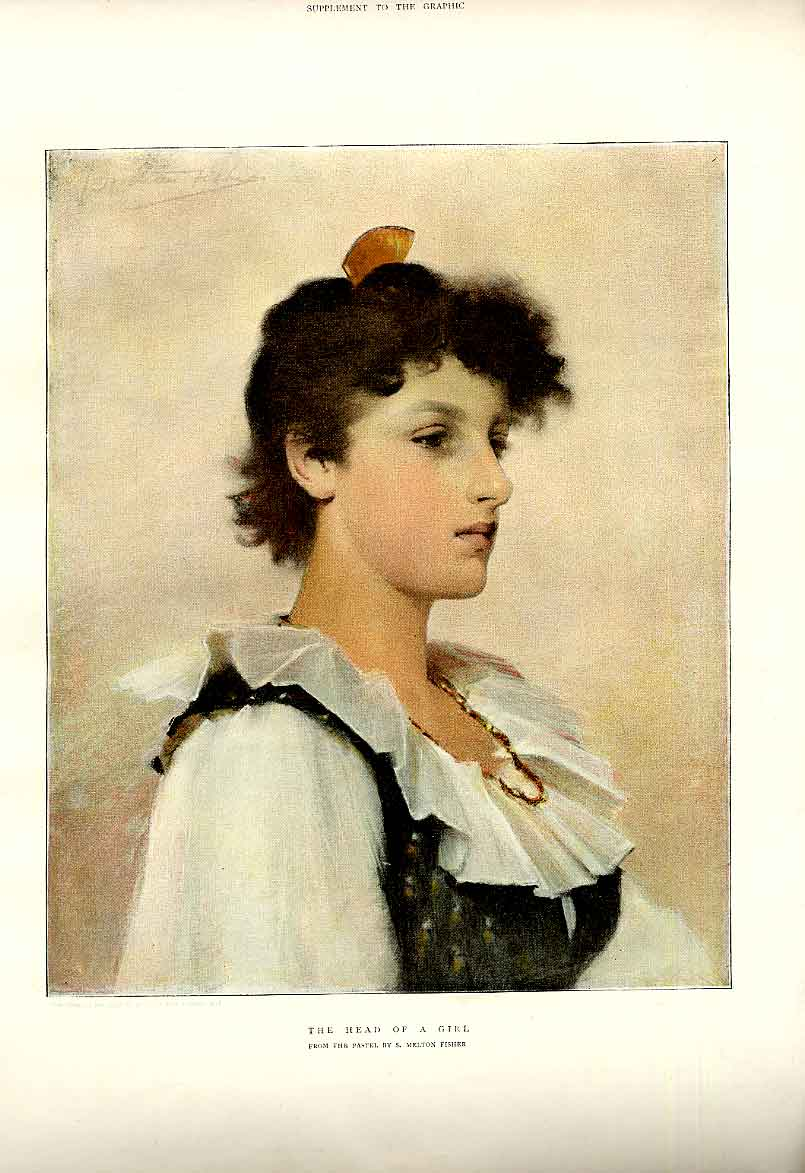 Print Head Girl By Fisher Fine Art Colour 1894 03Bbb0 Old Original
