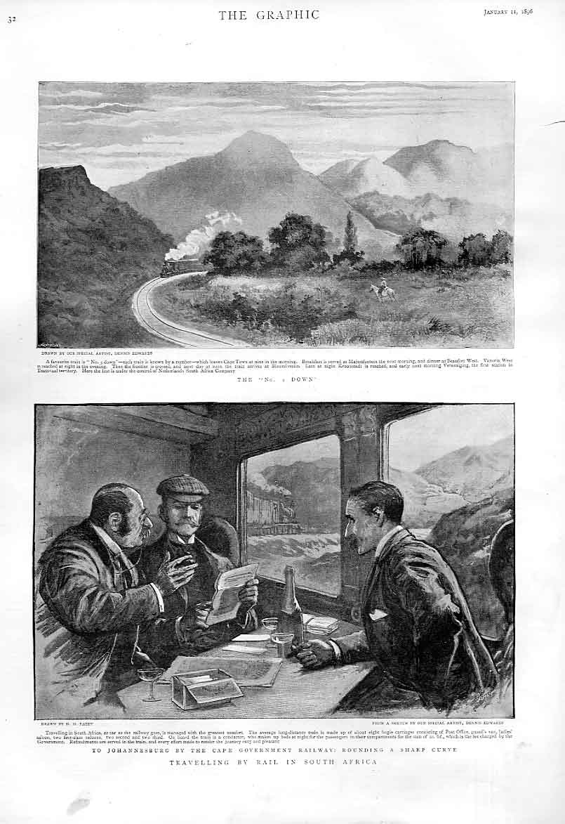 Print Travel By Rail South Africa 1896 32Bbb0 Old Original