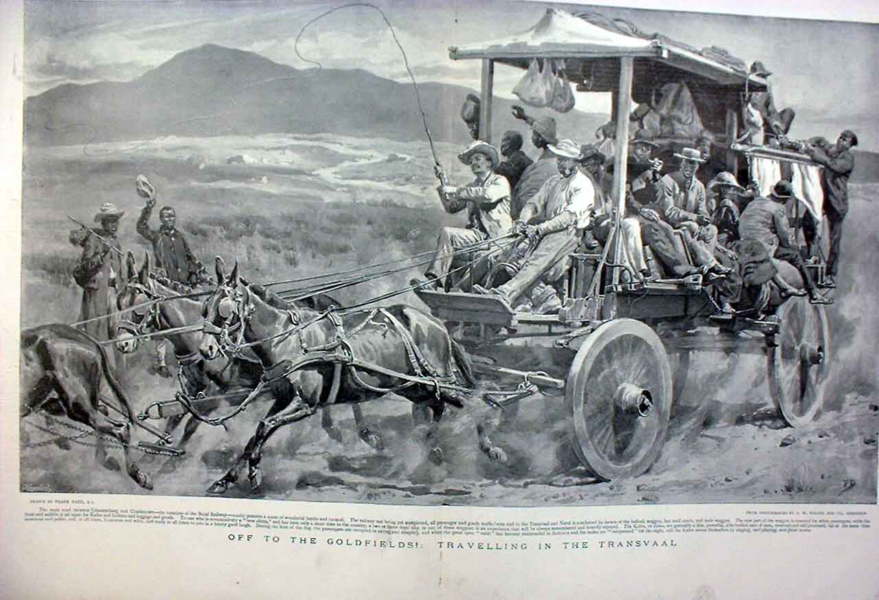 Print Off To Goldfields In The Transvaal Africa 43Tbbb0 Old Original
