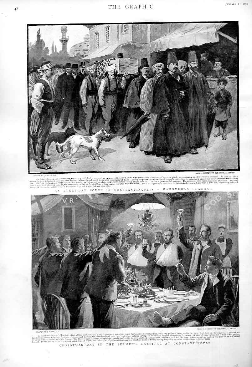 Print Christmas Day Seamens Hospital Constantinople 1896 48Bbb0 Old Original