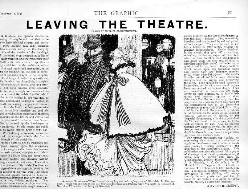 Print Leaving The Theatre 1896 Advert For Geraudels Pastilles 53Bbb0 Old Original