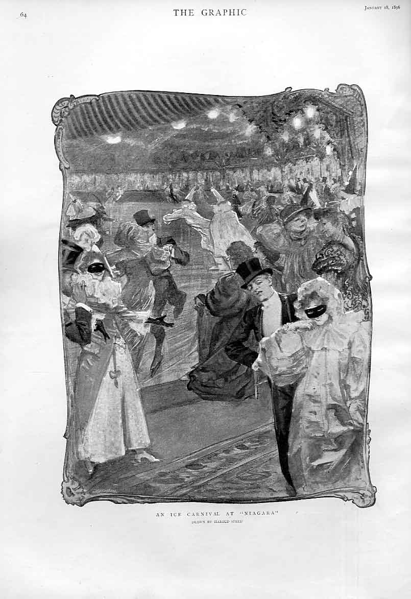 Print Ice Carnival At Niagaria By Speed Fine Art 1896 64Bbb0 Old Original