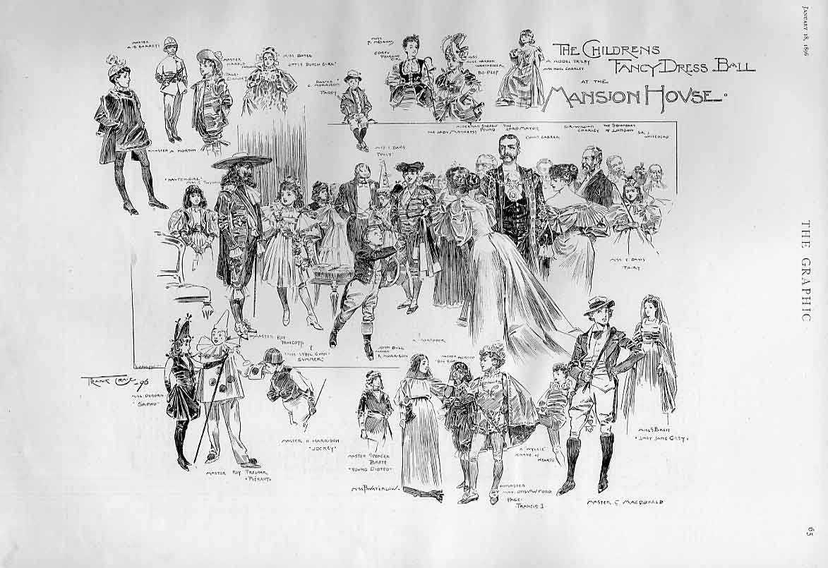 Print Childrens Fancy Dress Ball Mansion House 1896 London 65Bbb0 Old Original