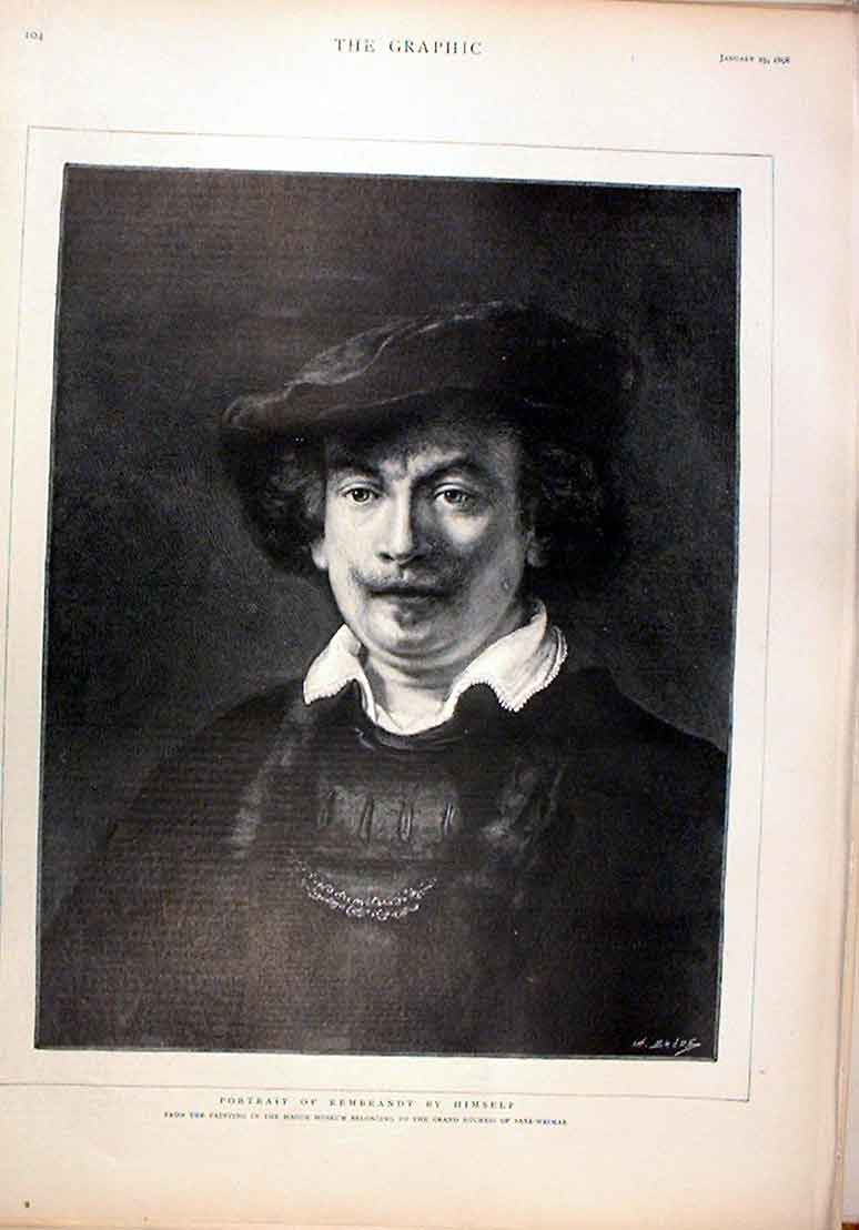 Print Rembrandt By Himself Portrait 1896 04Bbb0 Old Original